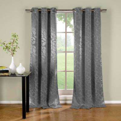Zayden 38 in. x 96 in. L Polyester Blackout Curtain Panel in Grey (2-Pack)