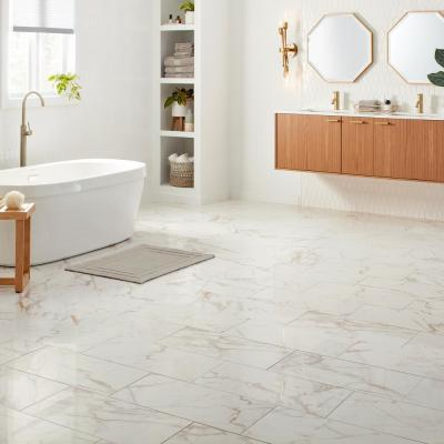 QuicTile 12 in. x 24 in. Calacatta Marble Polished Porcelain Locking Floor Tile (1.92 sq. ft. / piece)