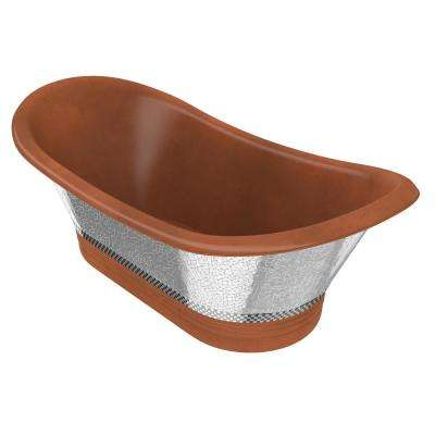 Banten 68 in. Handmade Copper Double Slipper Flatbottom Non-Whirlpool Bathtub in Polished Antique Copper
