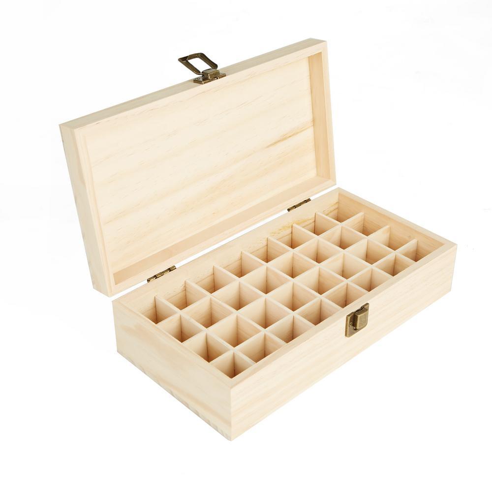 32-Bottle Essential Oil Organizer Wooden Case Box, Brown