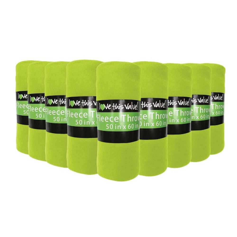 50 in. x 60 in. Lime Green Super Soft Fleece Throw