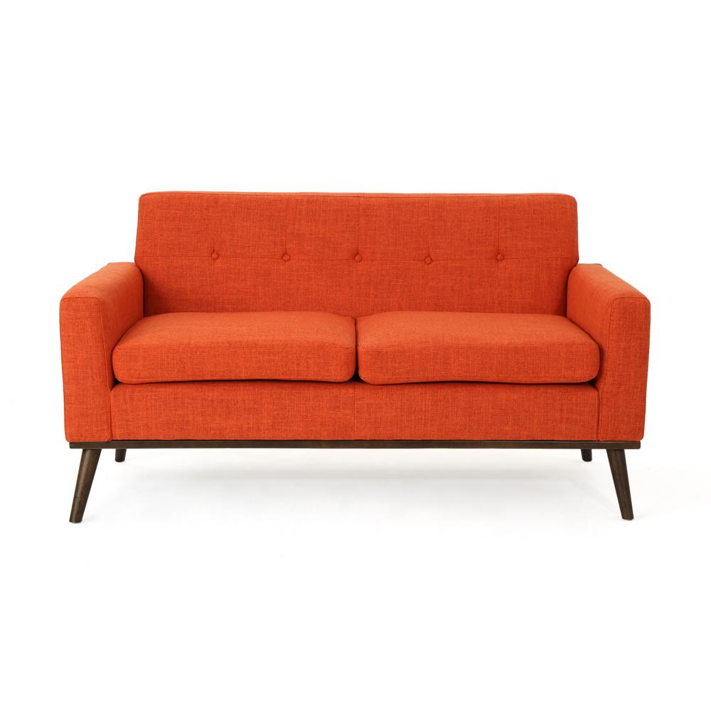 Stormi Mid-Century Modern 2-Seat Button Back Orange Fabric Sofa