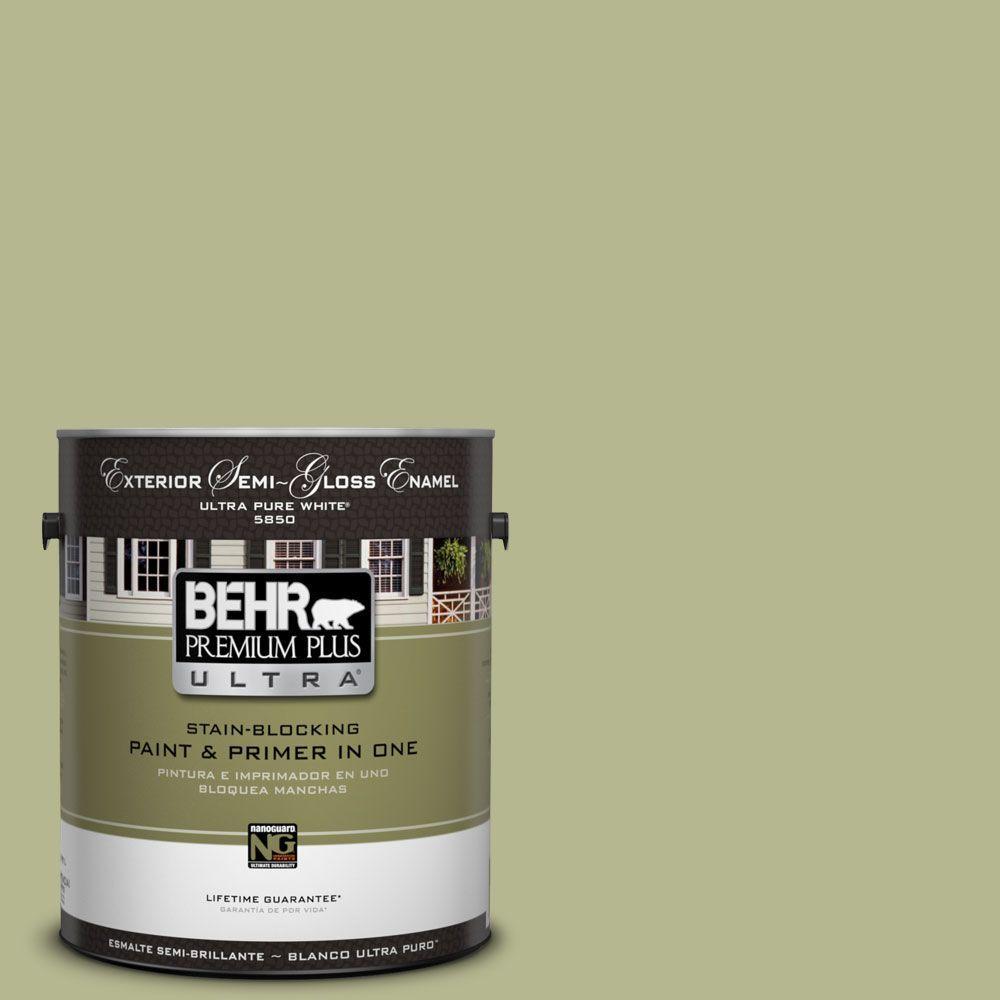 BEHR Premium Plus Ultra 1-gal. #HDC-SP14-1 Secret Glade Semi-Gloss Enamel Exterior Paint