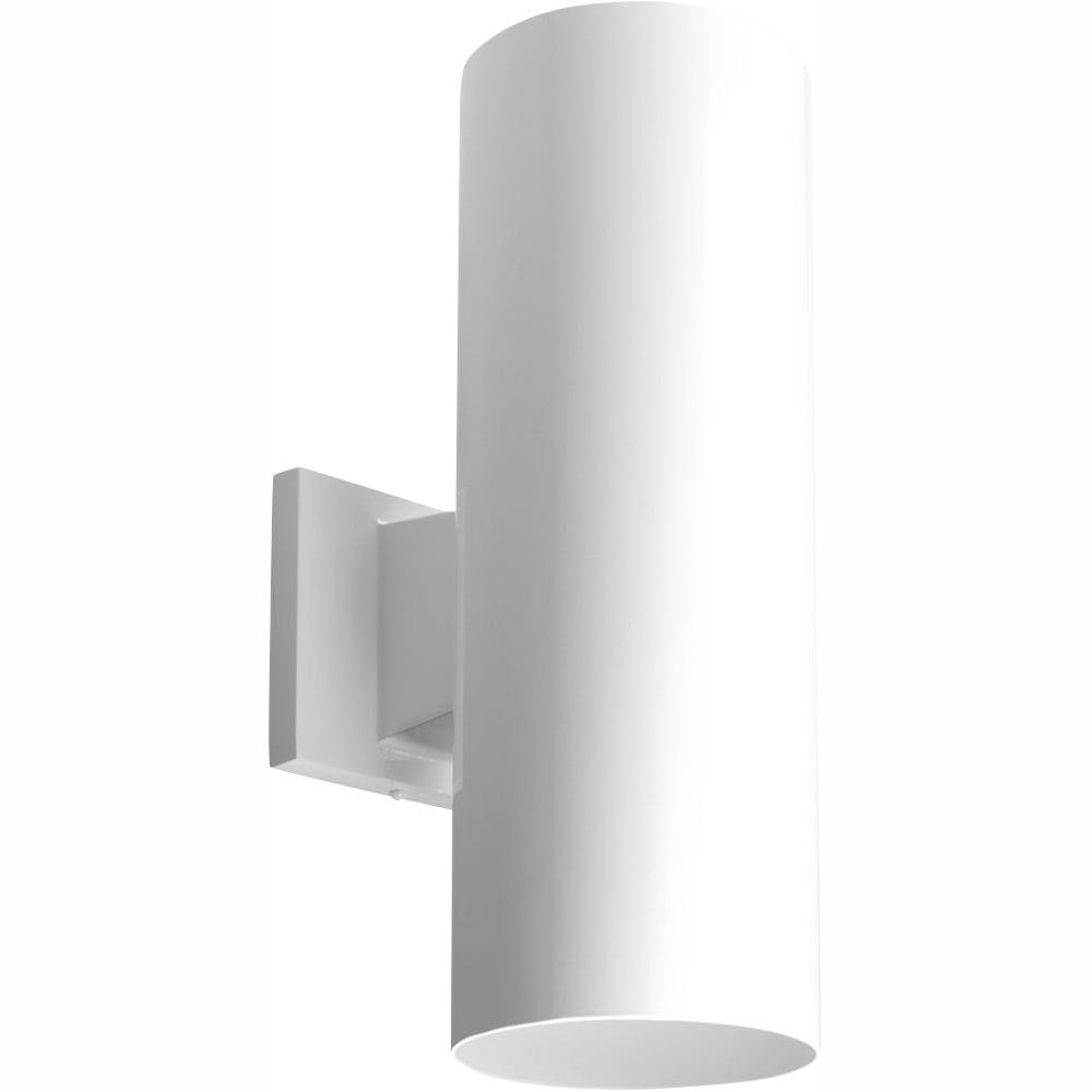 Progress Lighting 2-Light White Integrated LED 14 in. Outdoor Wall Mount Cylinder Light