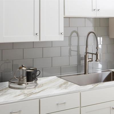 8 ft. Laminate Countertop Kit with Right Miter in Drama Marble and Ora Edge