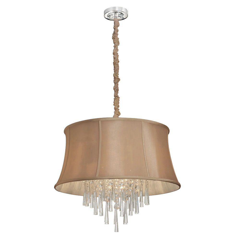 Julia 6-Light Polished Chrome Crystal Chandelier with Latte Shade