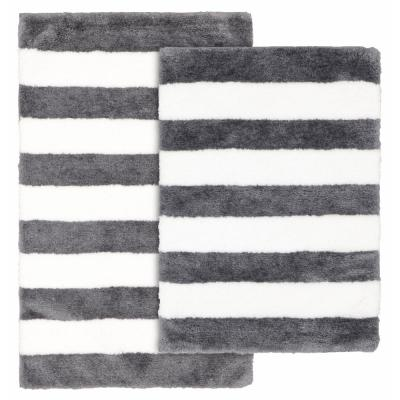 Beach Stripe Cinder Gray and White 21 in. x 34 in. Stripe Nylon Polyester 2-Piece Bath Mat Set