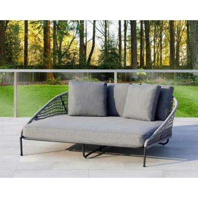 Indiana Grey 1-Piece Metal Outdoor Day Bed with Olefin Grey Cushions
