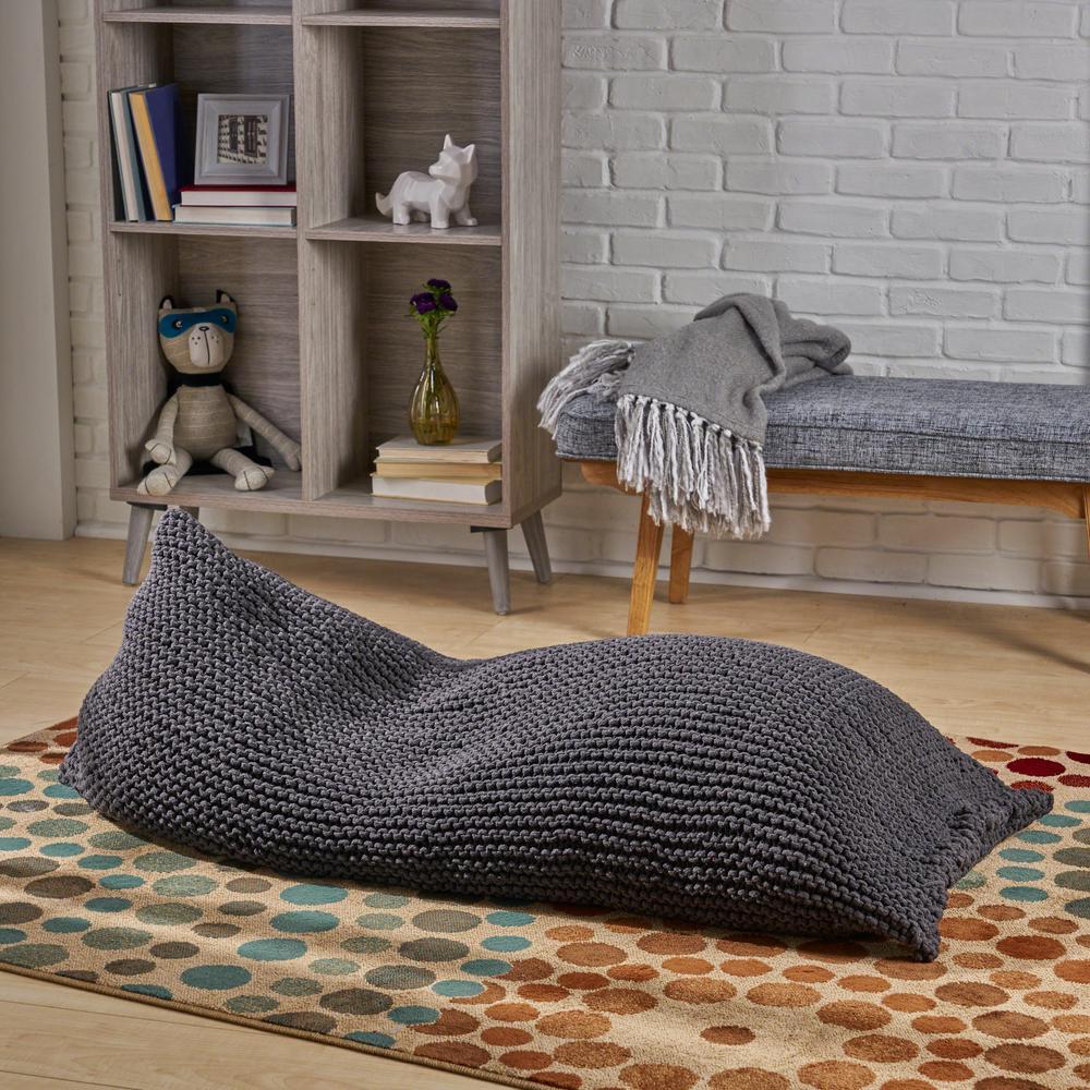 Wondrous Noble House Piermont Dark Gray Knitted Cotton Bean Bag 53522 Ncnpc Chair Design For Home Ncnpcorg