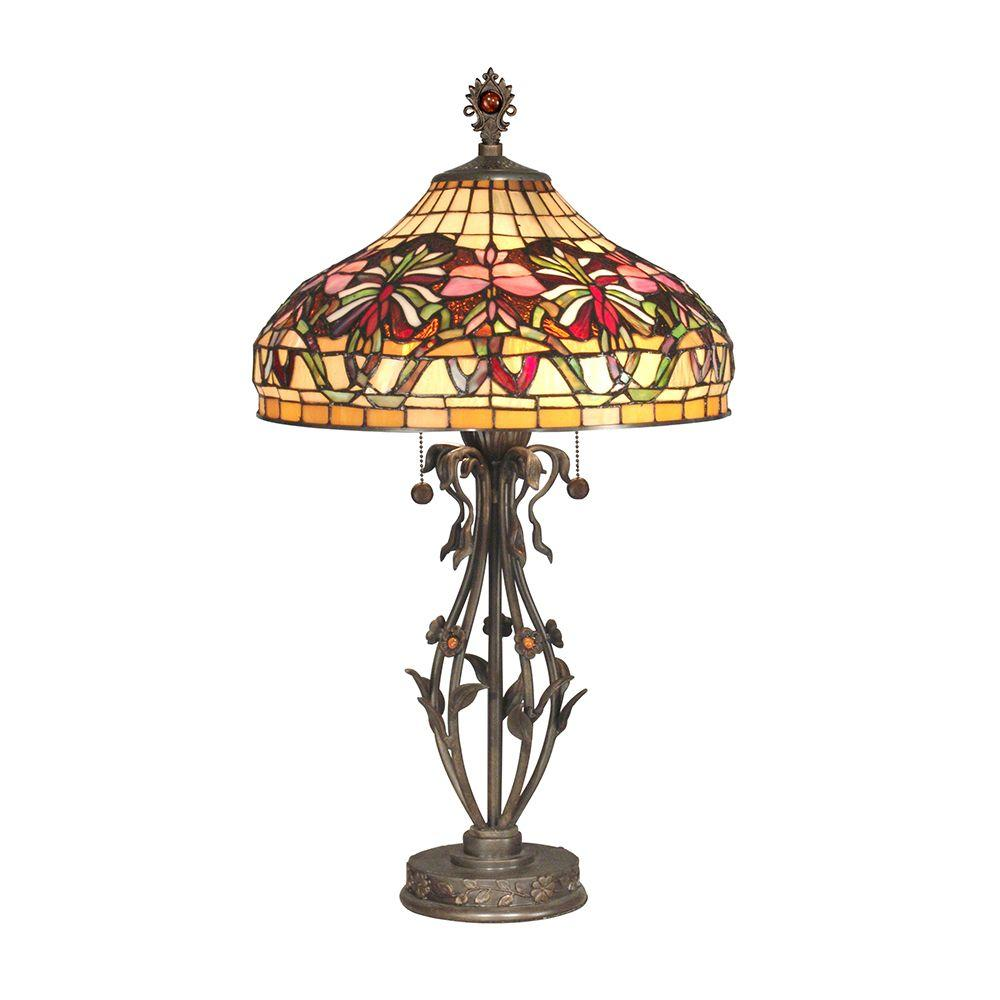 Dale Tiffany 28.5 in. Floral Wave Art Glass Table Lamp-DISCONTINUED