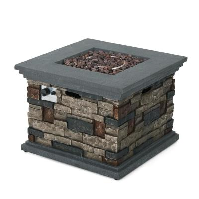 Chesney 32 in. x 24 in. Stone Square Outdoor Gas Fire Pit