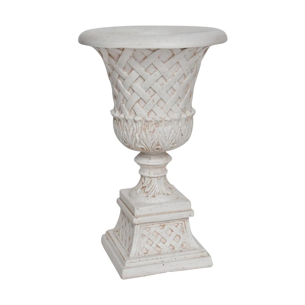 26.5 in. H. Aged White Cast Stone Lattice Urn and Pedestal