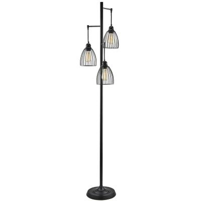 67 in. 3-Light Black Industrial Floor Lamp with Hanging Cage Shades