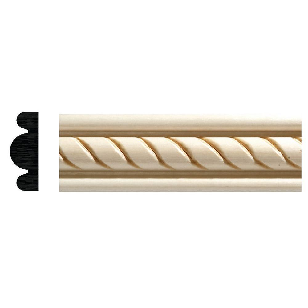 Ornamental Mouldings 1831 1/2 in. x 1-3/8 in. x 96 in. White Hardwood Embossed Rope Detail Moulding