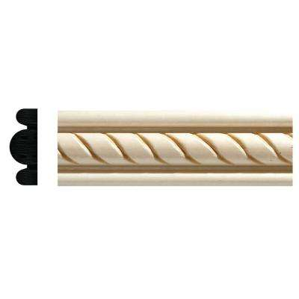1831 1/2 in. x 1-3/8 in. x 96 in. White Hardwood Embossed Rope Detail Moulding