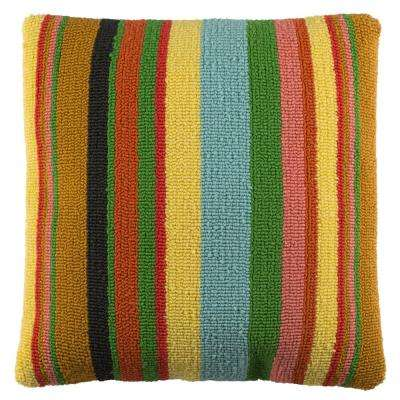 Kinsley Striped Multi-Color Square Outdoor Throw Pillow