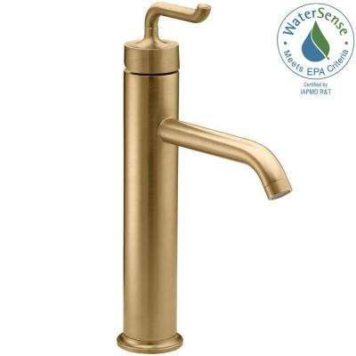 Purist Tall 1-Hole Single Hole Single Handle Low-Arc Bathroom Vessel Sink Faucet in Vibrant Modern Brushed Gold