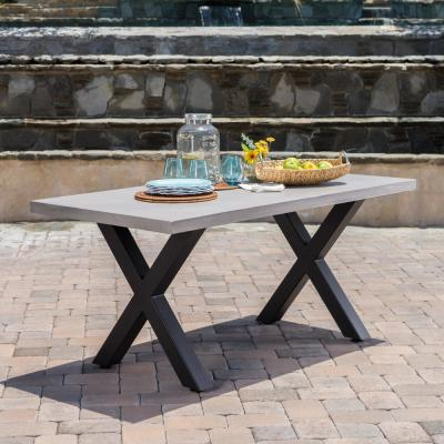 Black Rectangular Stone and Metal Outdoor Dining Table