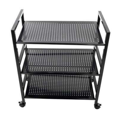 3-Tiers Iron Widen Multi-functional Storage Cart Organizer Shelf in Black
