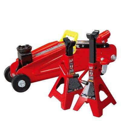 2-Ton Trolley Floor Jack with 2-Ton Jack Stands
