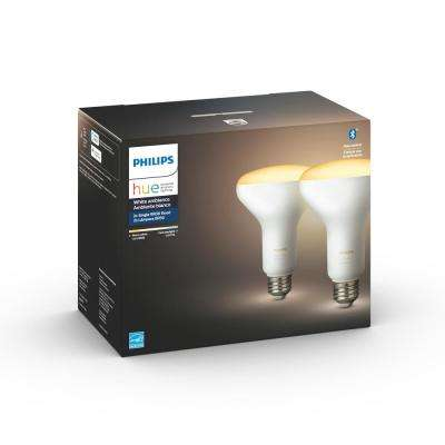 White Ambiance BR30 LED 65-Watt Equivalent Dimmable Smart Wireless Flood Light Bulb with Bluetooth (2 Pack)