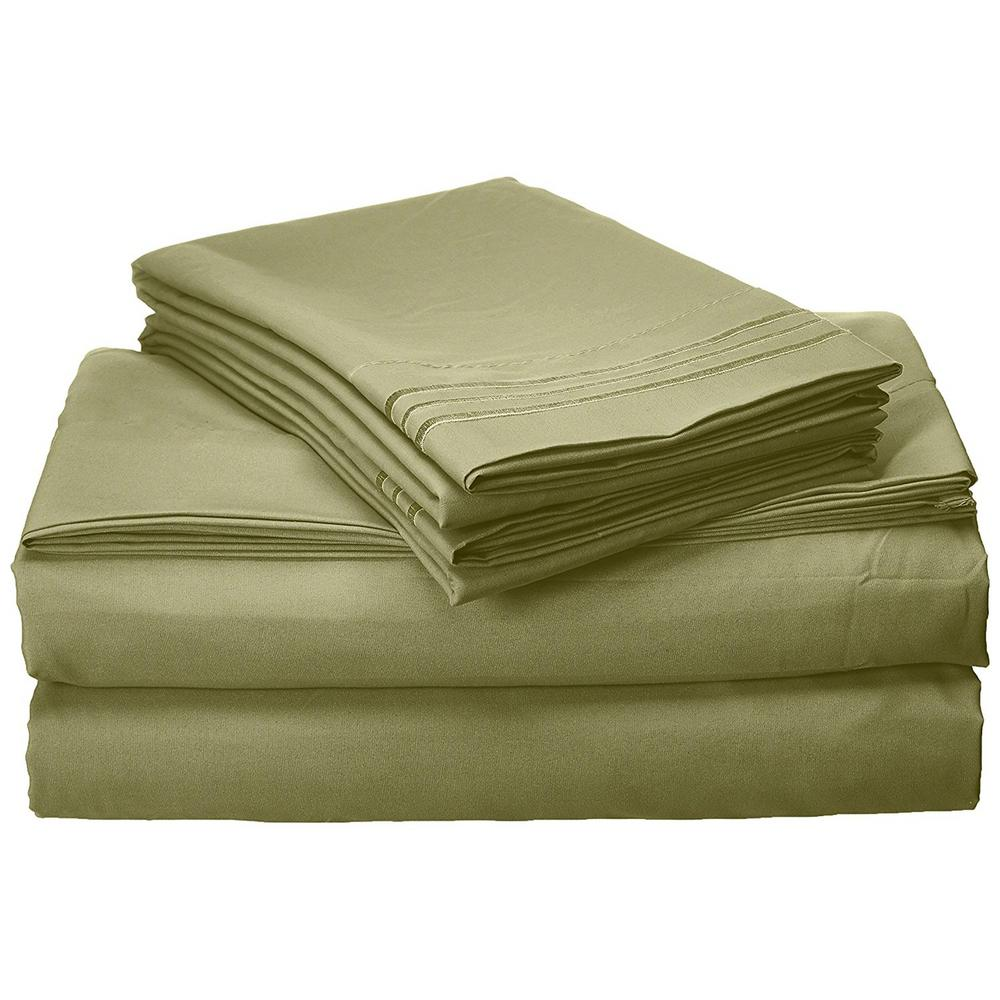 ElegantComfort Elegant Comfort 4-Piece Sage Solid Microfiber Full Sheet Set, Green