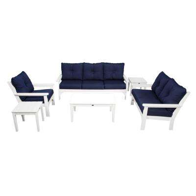 Vineyard 6-Piece Plastic Patio Deep Seating Set with Cushions