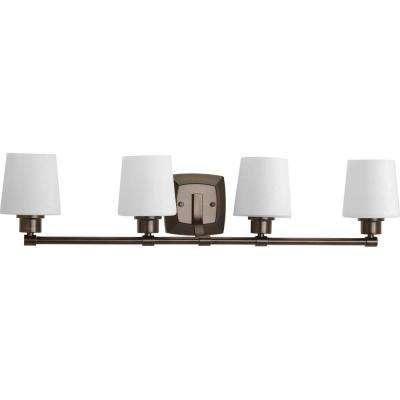 Glance Collection 4-Light Antique Bronze Vanity Light with Etched Linen Glass Shades