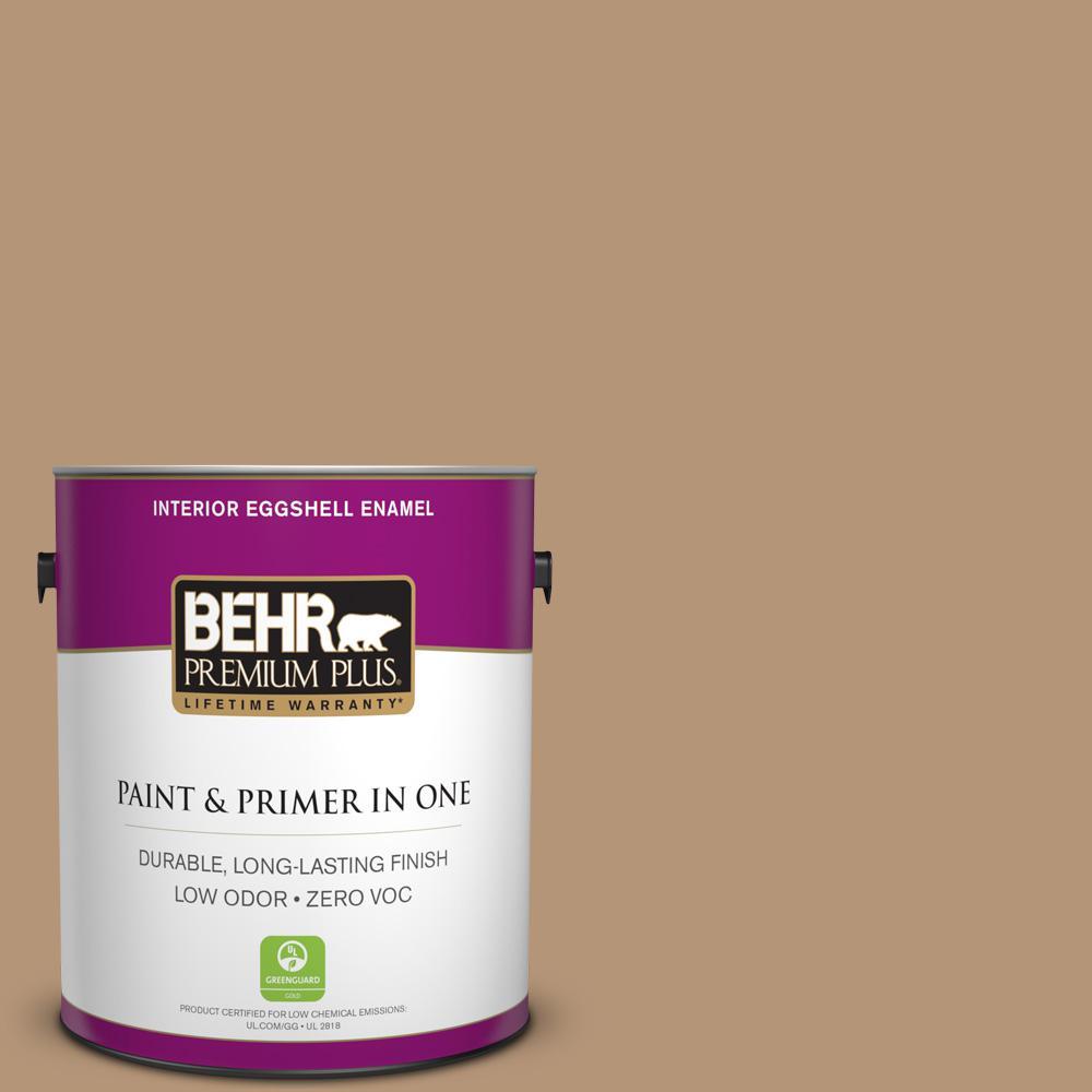 BEHR Premium Plus 1-gal. #280F-4 Burnt Almond Zero VOC Eggshell Enamel Interior Paint