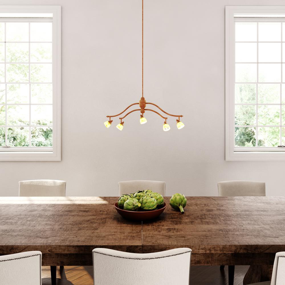 5-Light Walnut Adjustable Hanging Chandelier with Art Glass Shades