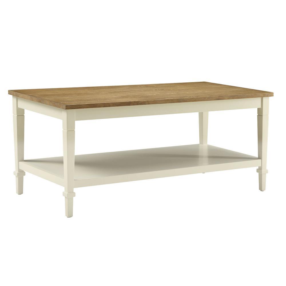 usl tevoli polar white and rustic oak coffee table sk19213c pw the home depot. Black Bedroom Furniture Sets. Home Design Ideas