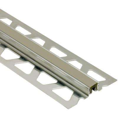 Dilex-KSN Stainless Steel with Grey Insert 5/8 in. x 8 ft. 2-1/2 in. Metal Movement Joint Tile Edging Trim
