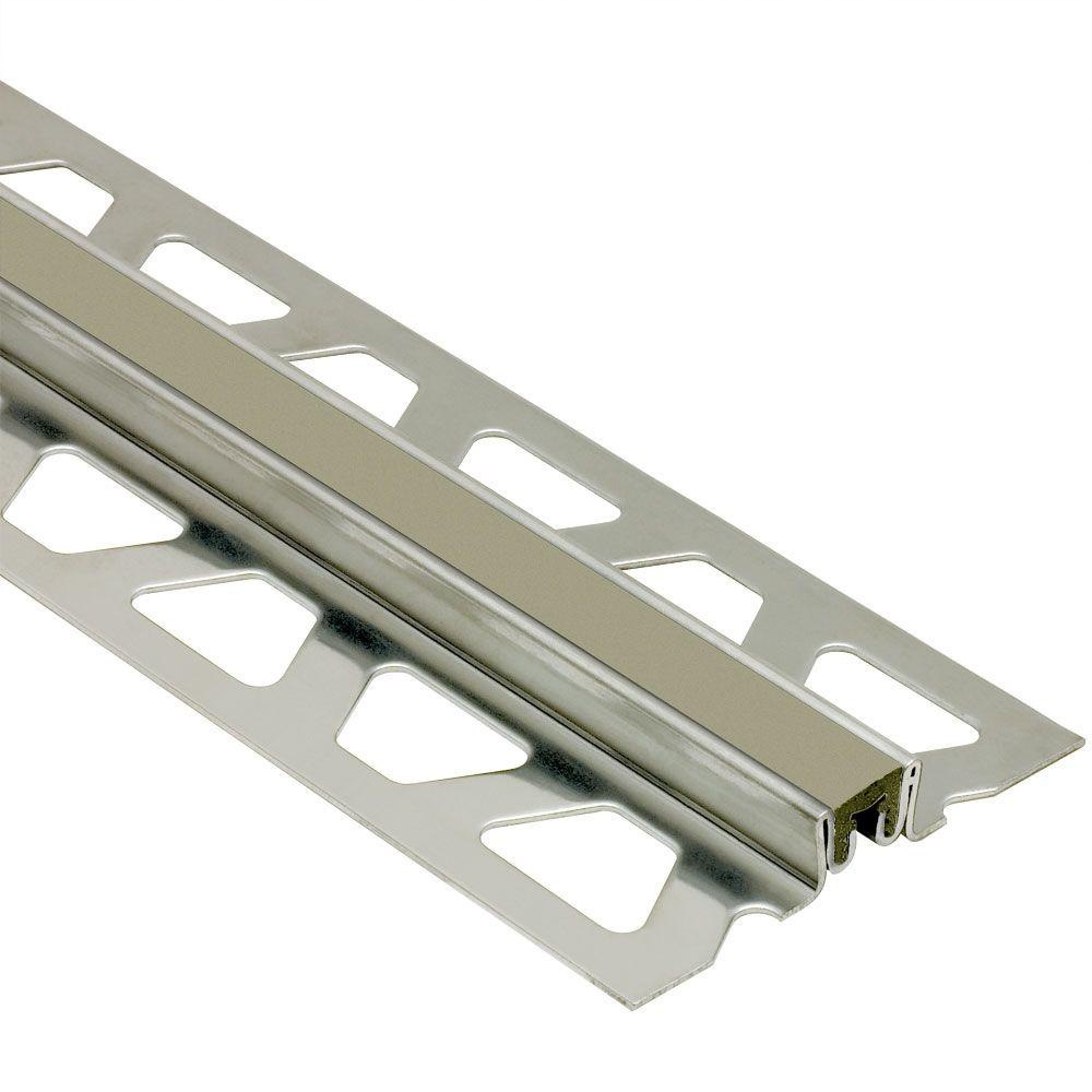 Schluter Dilex-KSN Stainless Steel with Grey Insert 1-3/16 in. x 8 ft. 2-1/2 in. Metal Movement Joint Tile Edging Trim