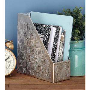 Metal Freestanding Magazine Rack in Metallic Silver by