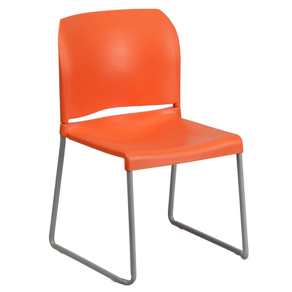Flash Furniture Hercules Series 880 Lb. Capacity Orange Full Back Contoured  Stack Chair With Sled