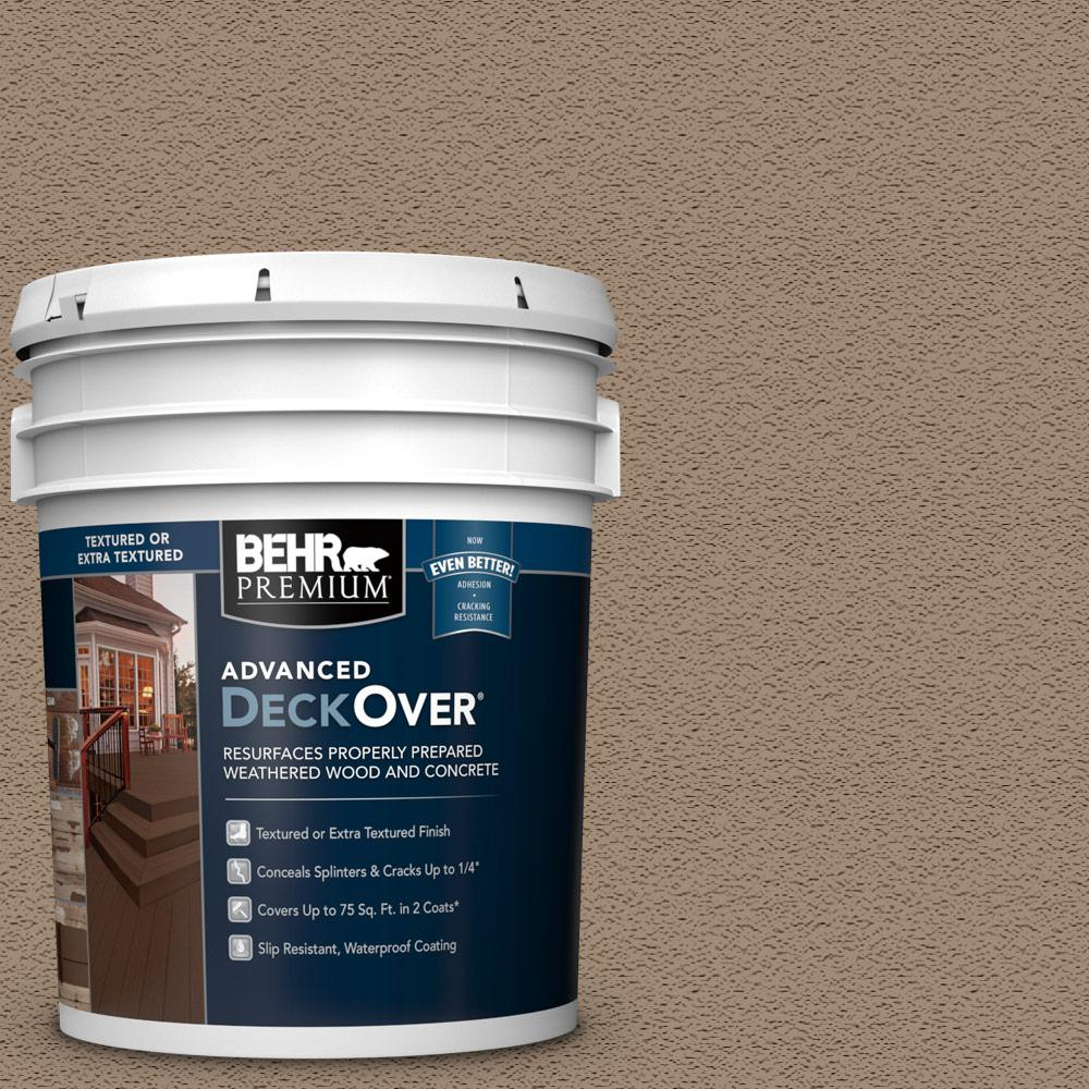 Behr Premium Advanced Deckover 5 Gal Sc 153 Taupe Textured Solid Color Exterior Wood And Concrete Coating 500505 The Home Depot