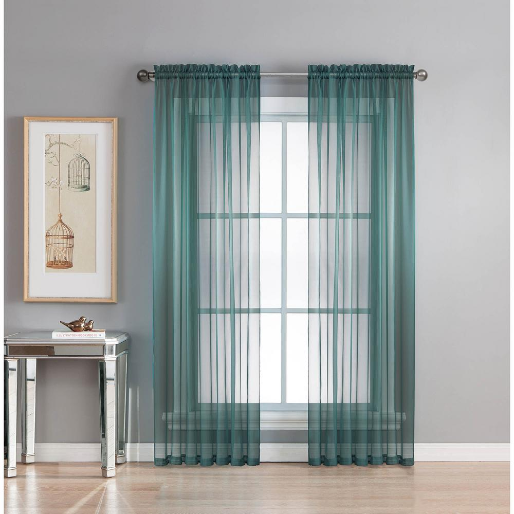 Window Elements Sheer Elegance 84 In L Rod Pocket Curtain Panel Pair Dusty