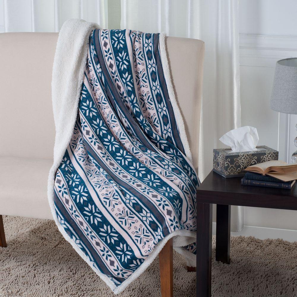 LavishHome Lavish Home Snowflakes Blue/Pink Polyester Throw Blanket
