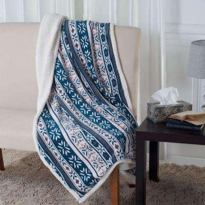 Snowflakes Fleece Sherpa Blanket Throw