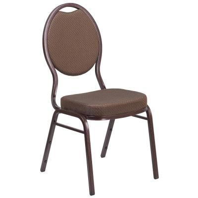 Brown Patterned Fabric/Copper Vein Frame Stack Chair