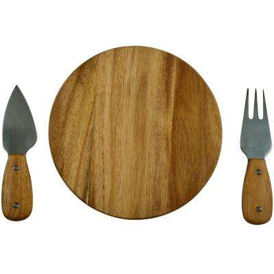 Bristol Acacia Cheese Board Set with Tools in Natural Gift Box