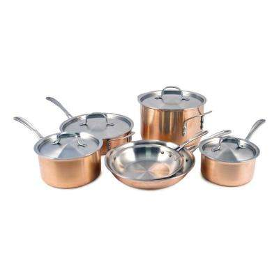 Tri-Ply 10-Piece Copper Cookware Set