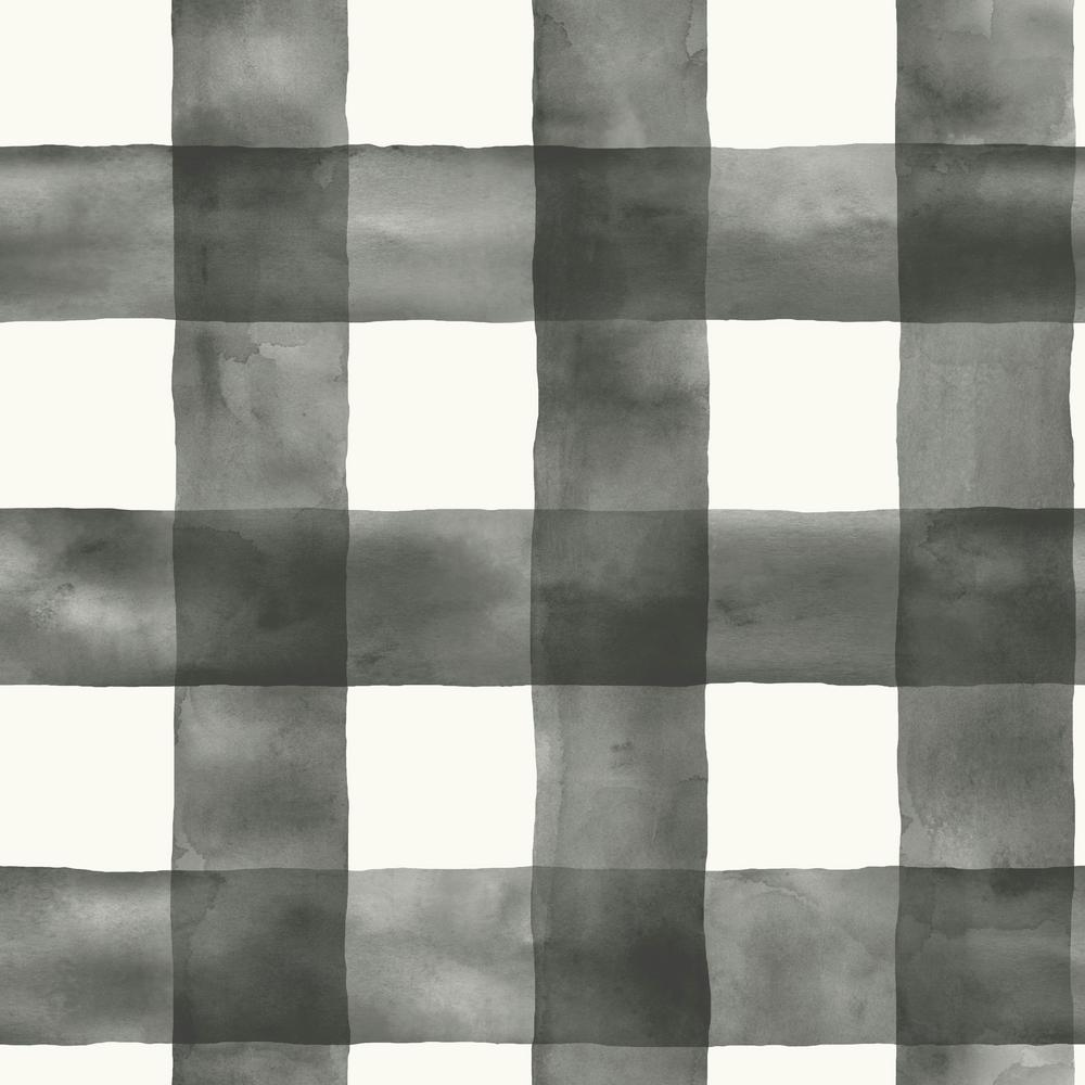 Black And White Watercolor Check Removable Wallpaper