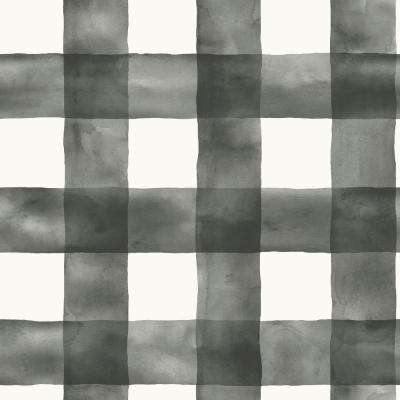 56 sq. ft. Black and White Watercolor Check Removable Wallpaper