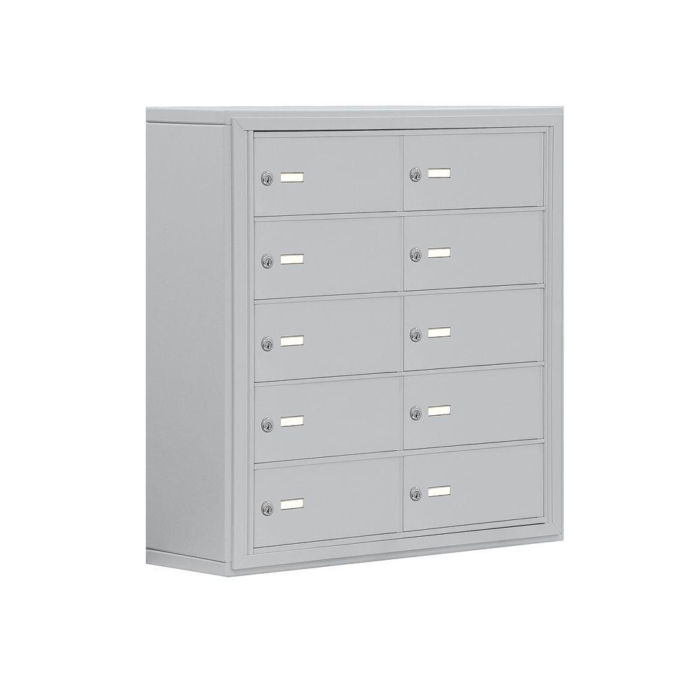 Salsbury Industries 19000 Series 30.5 in. W x 31 in. H x 9.25 in. D 10 B Doors S-Mount Keyed LocksCell Phone Locker in Aluminum