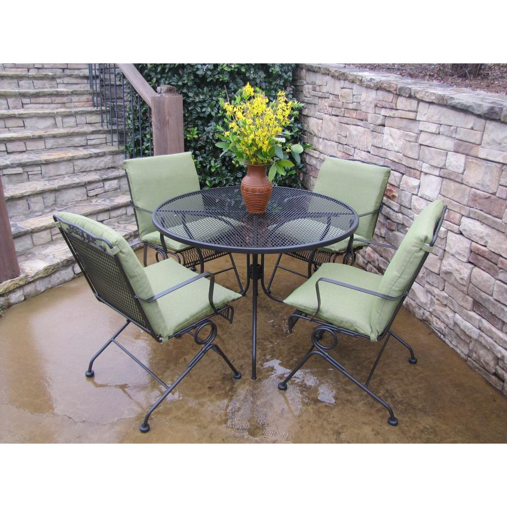 Arlington House Glenbrook Chocolate Brown 5-Piece Patio Dining Set with Green Cushions
