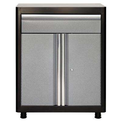 36 in. H x 30 in. W x 18 in. D Steel Base Cabinet with Drawer in Black/Multi-Granite