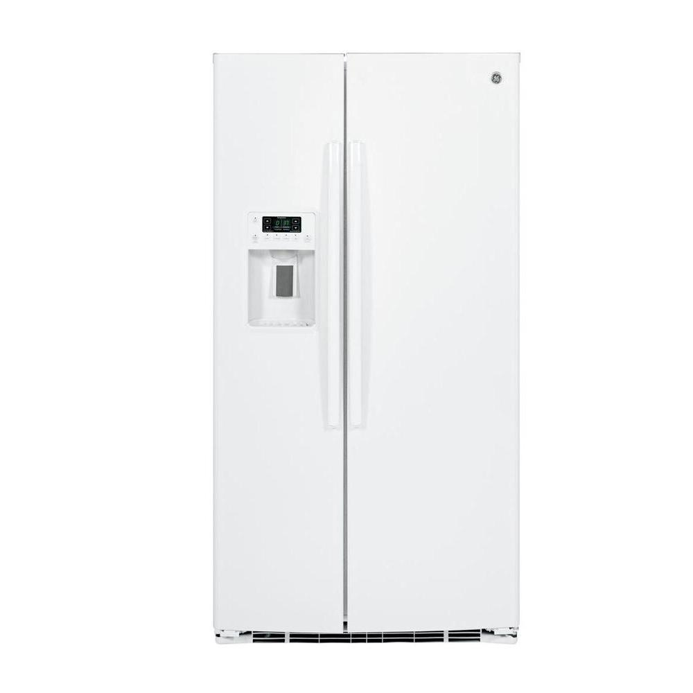 ge 25 4 cu ft side by side refrigerator in white gse25hghww the home depot. Black Bedroom Furniture Sets. Home Design Ideas