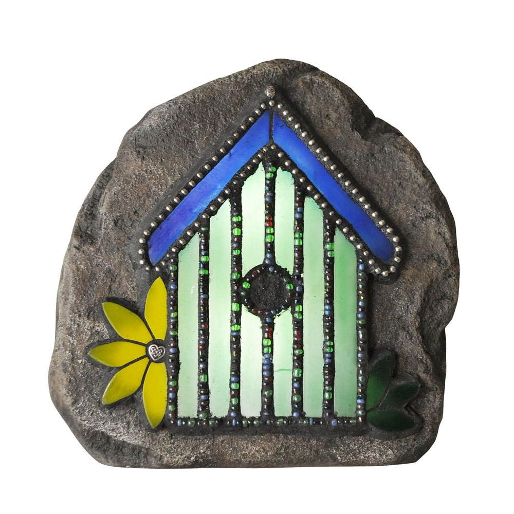 Moonrays Chris Emmert Designs 8.5 In. Birdhouse Solar Powered Integrated  LED Outdoor Landscape Garden Light