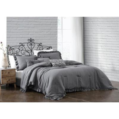 Davina 6pc Solid Gray Enzyme Washed King Comforter Set with 3 Decorative Pillows